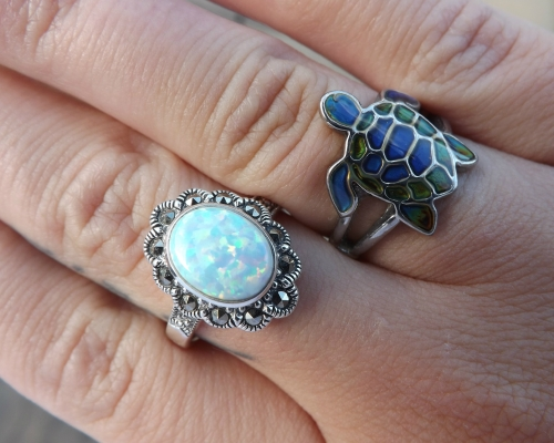 Bella Sorella ring and turtle ring